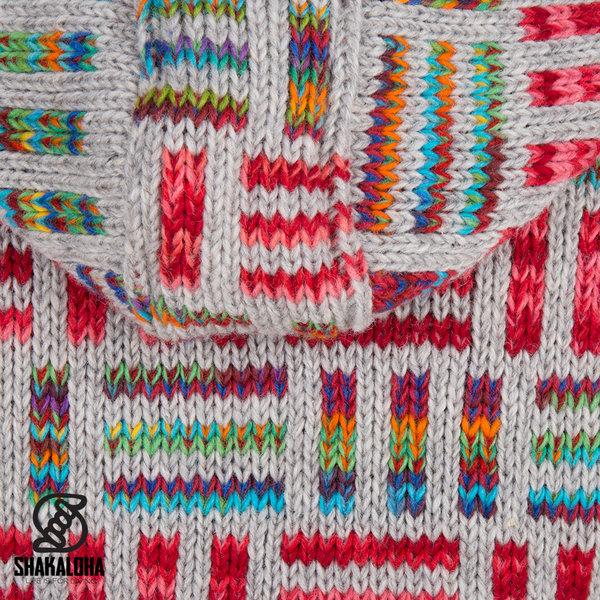 Shakaloha Shakaloha Gebreid Wollen Vest Tictac ZH Grijs Bont Gekleurd met Katoenen Voering en Afneembare Capuchon - Dames - Handgemaakt in Nepal van Schapenwol