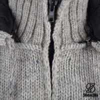 Shakaloha Shakaloha Veste en Laine Tricoté Breaker gris avec Coupe-vent en nylon et Capuche détachable - Hommes - Uni - Fabriqué à la main au Népal en laine de mouton