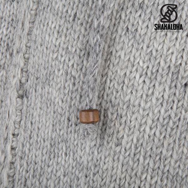 Shakaloha Shakaloha Gebreid Wollen Vest Breaker Grijs met Nylon Windstopper en Afneembare Capuchon - Man/Uni - Handgemaakt in Nepal van Schapenwol