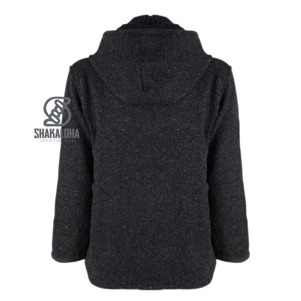Shakaloha Shakaloha Knitted Woolen Jacket Cruiser Ziphood Anthracite with Cotton Lining and Detachable Hood - Men - Unisex - Handmade in Nepal from sheep's wool