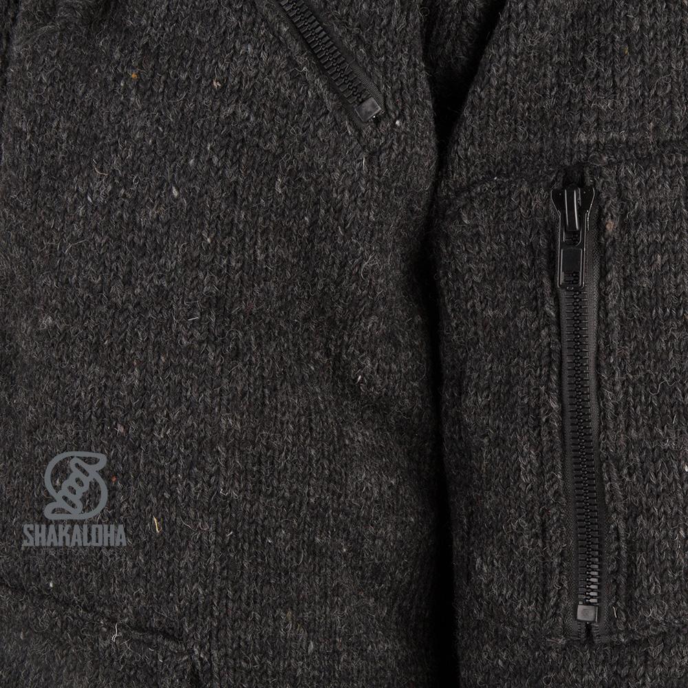 Shakaloha Shakaloha Gebreid Wollen Vest Cruiser Ziphood Antraciet met Katoenen Voering en Afneembare Capuchon - Man/Uni - Handgemaakt in Nepal van Schapenwol
