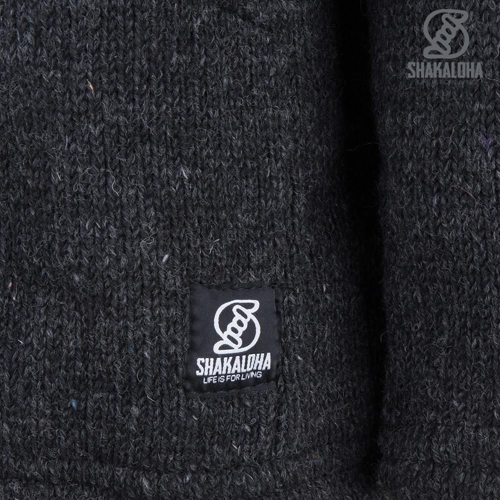 Shakaloha Shakaloha Veste en Laine Tricoté Cruiser Ziphood Anthracite avec Doublure en coton et Capuche détachable - Hommes - Uni - Fabriqué à la main au Népal en laine de mouton