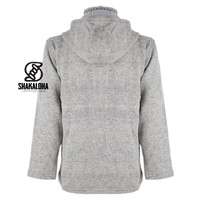 Shakaloha Shakaloha Knitted Woolen Jacket Cruiser Ziphood Gray with Cotton Lining and Detachable Hood - Men - Unisex - Handmade in Nepal from sheep's wool