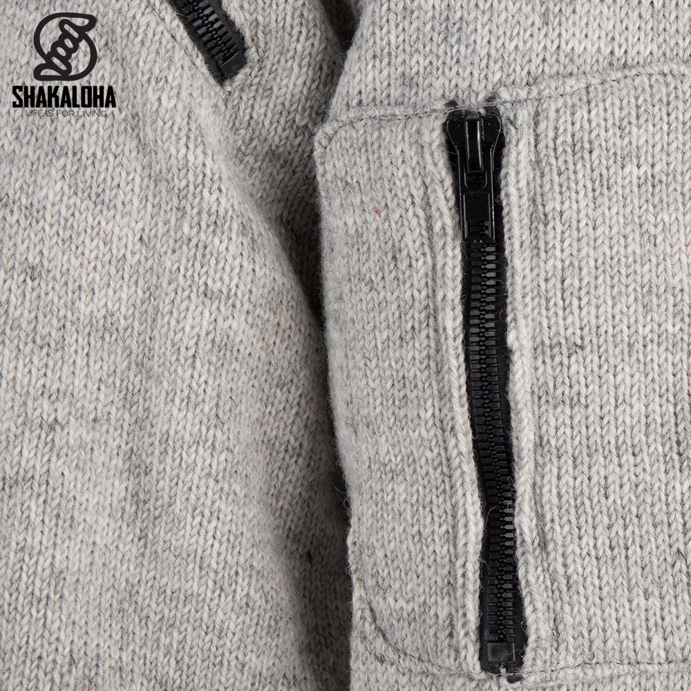 Shakaloha Shakaloha Wolljacke - Strickjacke Cruiser Ziphood Grau mit Baumwollfutter und Abnehmbarer Kapuze - Herren - Uni - Handgemacht in Nepal aus Schafwolle