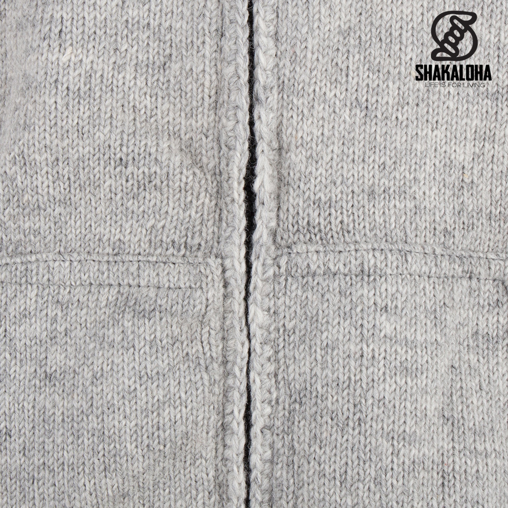 Shakaloha Shakaloha Veste en Laine Tricoté Cruiser Ziphood gris avec Doublure en coton et Capuche détachable - Hommes - Uni - Fabriqué à la main au Népal en laine de mouton