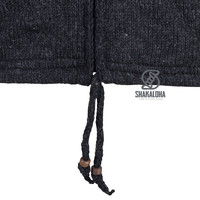 Shakaloha Shakaloha Gebreid Wollen Vest Flyer Collar Antraciet met Katoenen Voering en Hoge Kraag - Man/Uni - Handgemaakt in Nepal van Schapenwol