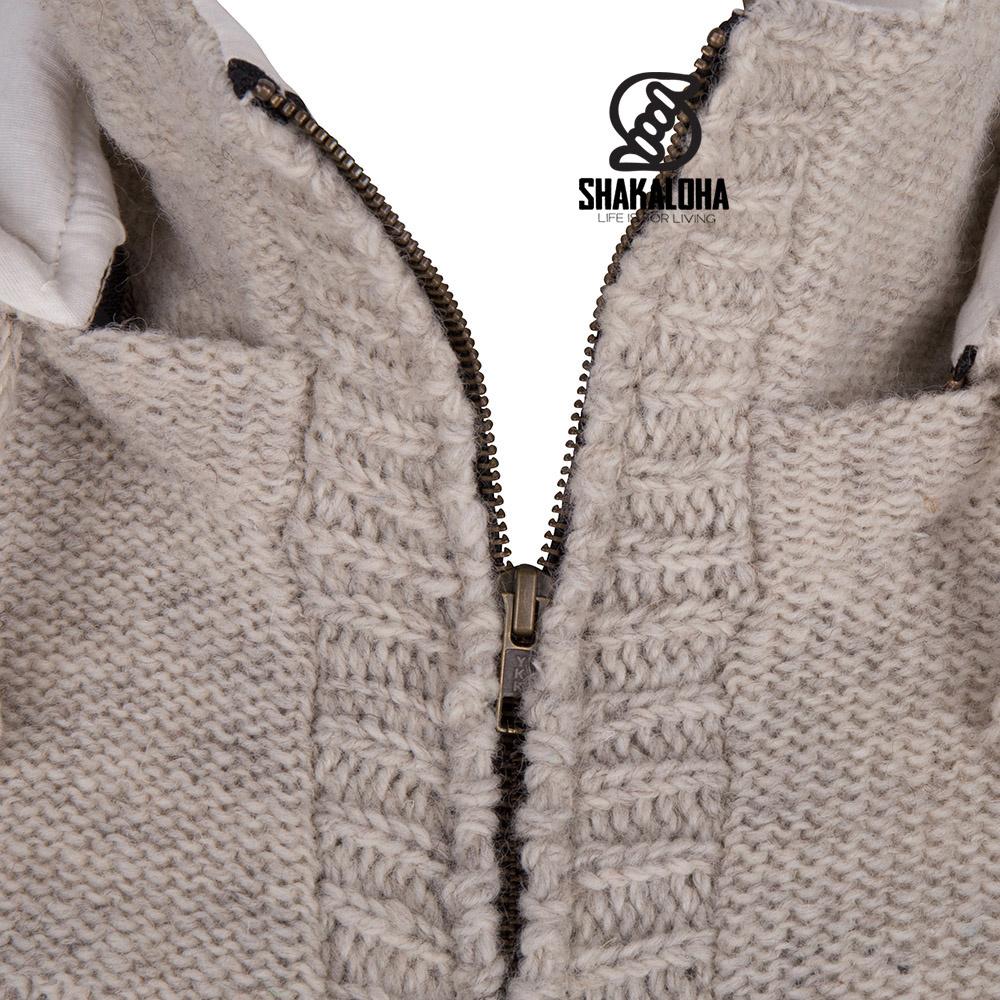Shakaloha Cardigan en laine tricoté Shakaloha Brizo ZH Beige crème avec doublure en polaire et capuche - Femmes - Fabriqué à la main au Népal à partir de laine de mouton