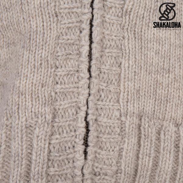 Shakaloha Shakaloha Gebreid Wollen Vest Brizo ZH Beige Crème met Fleece Voering en Capuchon - Dames - Handgemaakt in Nepal van Schapenwol