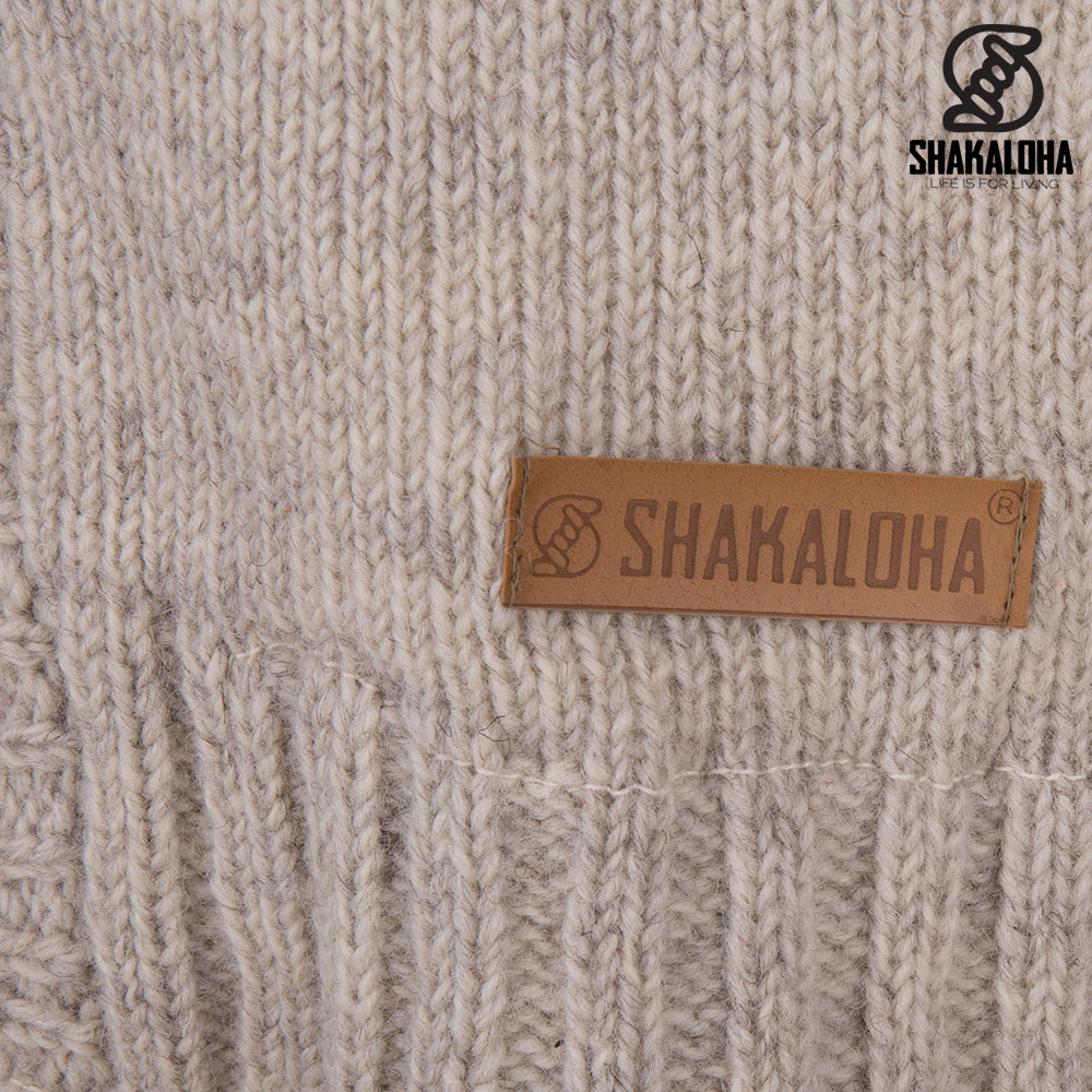 Shakaloha Shakaloha Strickwolle Strickjacke Brizo ZH Beige Cream mit Fleecefutter und Kapuze - Damen - Handmade in Nepal from Sheep Wool