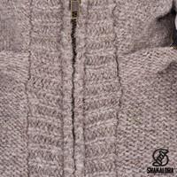 Shakaloha Shakaloha Knitted Woolen Jacket Brizo ZH Light Brown Taupe with Fleece Lining and Hood - Woman - Handmade in Nepal from sheep's wool