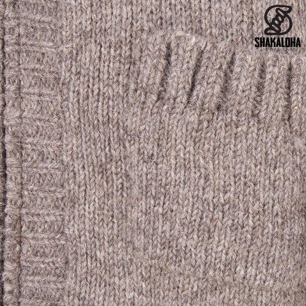 Shakaloha Shakaloha Wolljacke - Strickjacke Brizo ZH Hellbraune Taupe mit Fleece-Futter und Kapuze - Damen - Handgemacht in Nepal aus Schafwolle