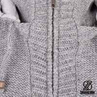 Shakaloha Shakaloha Knitted Woolen Jacket Brizo ZH Gray with Fleece Lining and Hood - Woman - Handmade in Nepal from sheep's wool
