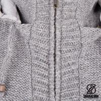 Shakaloha Shakaloha Wolljacke - Strickjacke Brizo ZH Grau mit Fleece-Futter und Kapuze - Damen - Handgemacht in Nepal aus Schafwolle