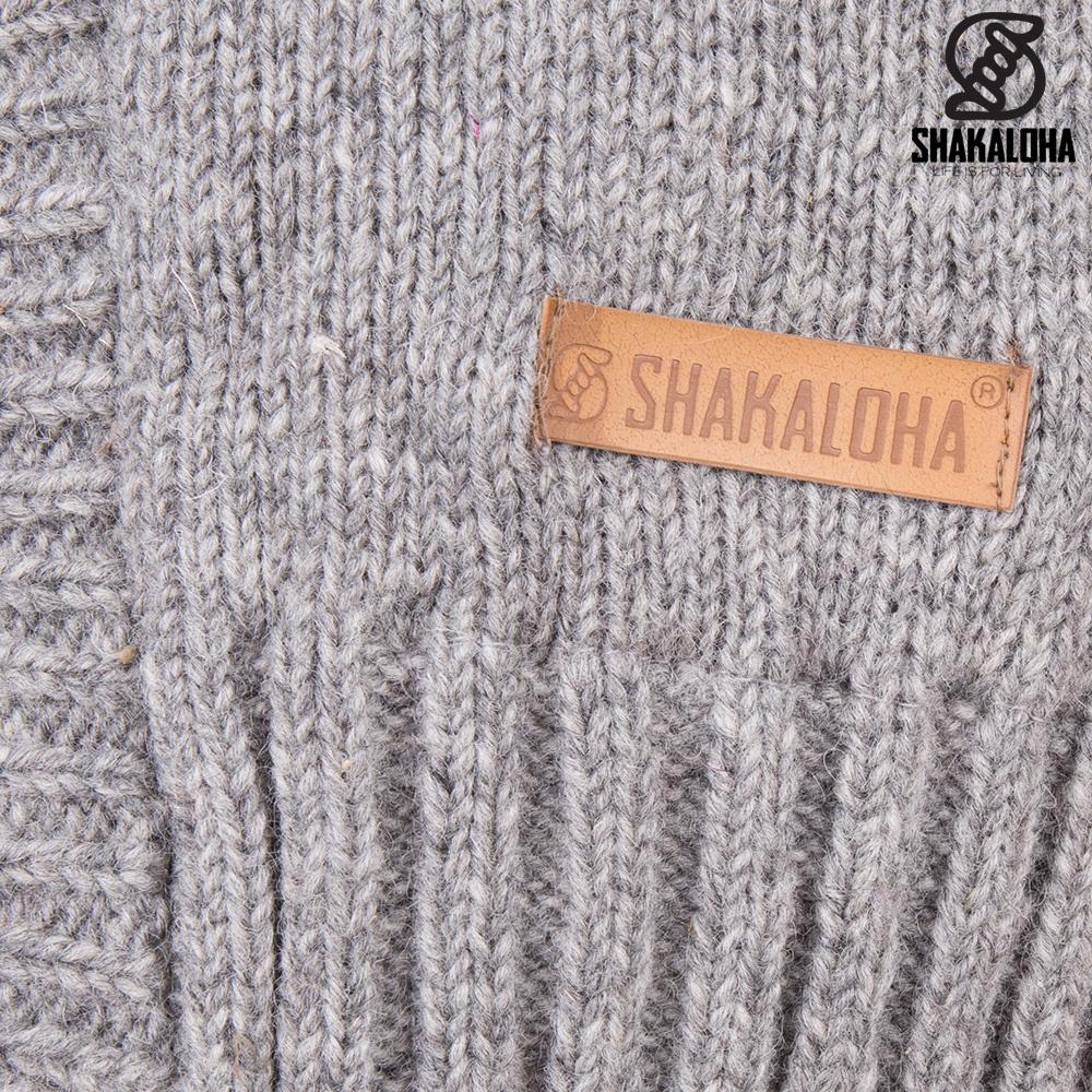 Shakaloha Shakaloha Gebreid Wollen Vest Brizo ZH Grijs met Fleece Voering en Capuchon - Dames - Handgemaakt in Nepal van Schapenwol