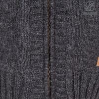 Shakaloha Shakaloha Gebreid Wollen Vest Brizo ZH Antraciet met Fleece Voering en Capuchon - Dames - Handgemaakt in Nepal van Schapenwol
