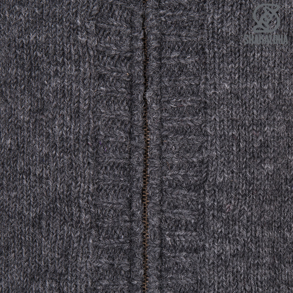 Shakaloha Shakaloha Knitted Wool Cardigan Brizo ZH Anthracite with Fleece Lining and Hood - Women - Handmade in Nepal from Sheep Wool