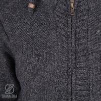 Shakaloha Shakaloha Knitted Woolen Jacket Brizo ZH Anthracite with Fleece Lining and Hood - Woman - Handmade in Nepal from sheep's wool