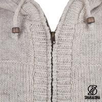 Shakaloha Shakaloha Wolljacke - Strickjacke Quantum Beige Creme mit Baumwollfutter und Kapuze - Herren - Uni - Handgemacht in Nepal aus Schafwolle