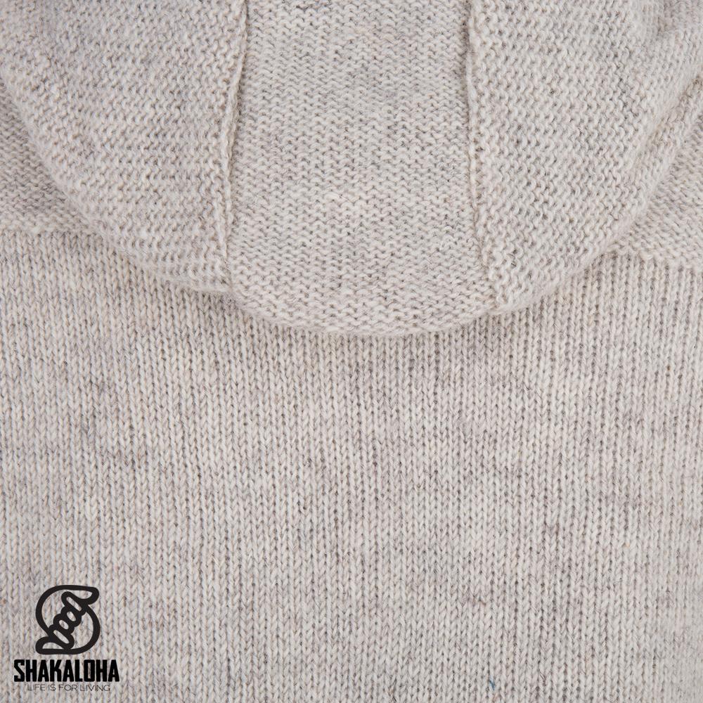 Shakaloha Shakaloha Gebreid Wollen Vest Quantum Beige Crème met Katoenen Voering en Capuchon - Man/Uni - Handgemaakt in Nepal van Schapenwol