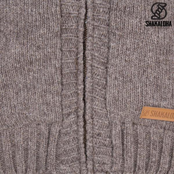 Shakaloha Shakaloha Wolljacke - Strickjacke Quantum Hellbraune Taupe mit Baumwollfutter und Kapuze - Herren - Uni - Handgemacht in Nepal aus Schafwolle