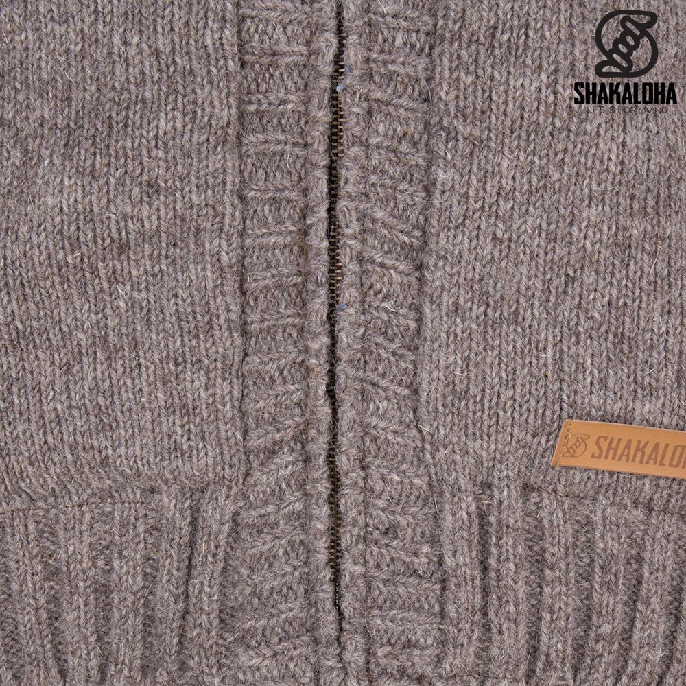 Shakaloha Shakaloha Veste en Laine Tricoté Quantum Taupe marron clair avec Doublure en coton et Capuche - Hommes - Uni - Fabriqué à la main au Népal en laine de mouton