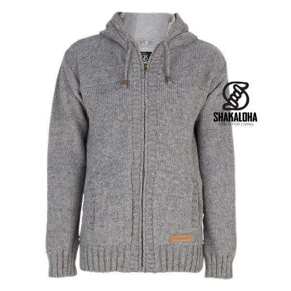 Shakaloha Shakaloha Knitted Woolen Jacket Quantum Gray with Cotton Lining and Hood - Men - Unisex - Handmade in Nepal from sheep's wool