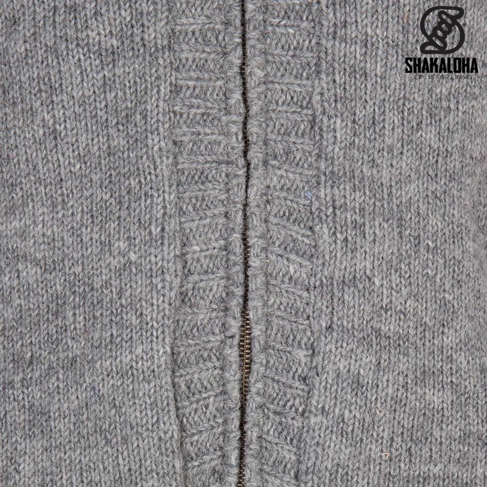 Shakaloha Shakaloha Gebreid Wollen Vest Quantum Grijs met Katoenen Voering en Capuchon - Man/Uni - Handgemaakt in Nepal van Schapenwol