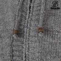 Shakaloha Shakaloha Wolljacke - Strickjacke Quantum Grau mit Baumwollfutter und Kapuze - Herren - Uni - Handgemacht in Nepal aus Schafwolle