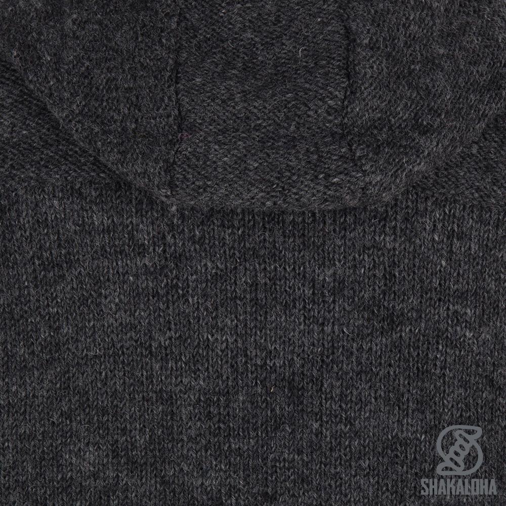 Shakaloha Shakaloha Veste en Laine Tricoté Quantum Anthracite avec Doublure en coton et Capuche - Hommes - Uni - Fabriqué à la main au Népal en laine de mouton