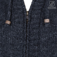 Shakaloha Shakaloha Knitted Woolen Jacket Quantum Anthracite with Cotton Lining and Hood - Men - Unisex - Handmade in Nepal from sheep's wool