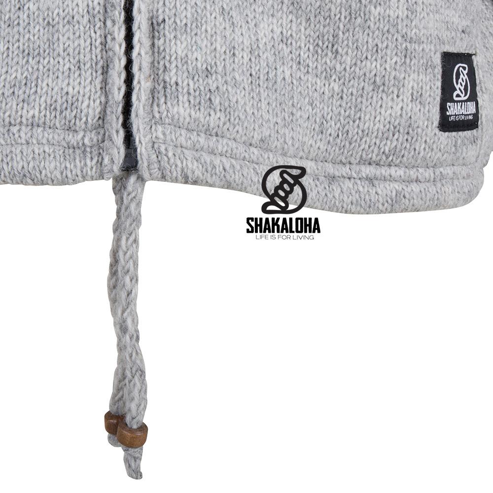 Shakaloha Shakaloha Wolljacke - Strickjacke Flyer Collar Grau mit Baumwollfutter und hohem Kragen - Herren - Uni - Handgemacht in Nepal aus Schafwolle