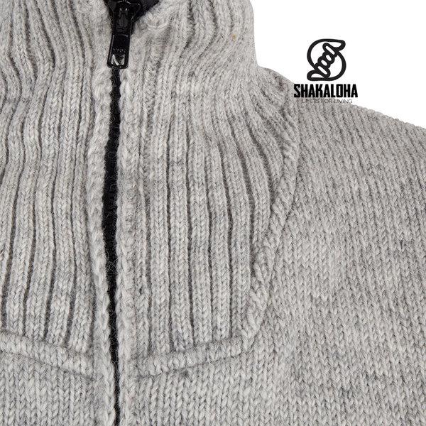 Shakaloha Shakaloha Knitted Woolen Jacket Flyer Collar Gray with Cotton Lining and High Collar - Men - Unisex - Handmade in Nepal from sheep's wool