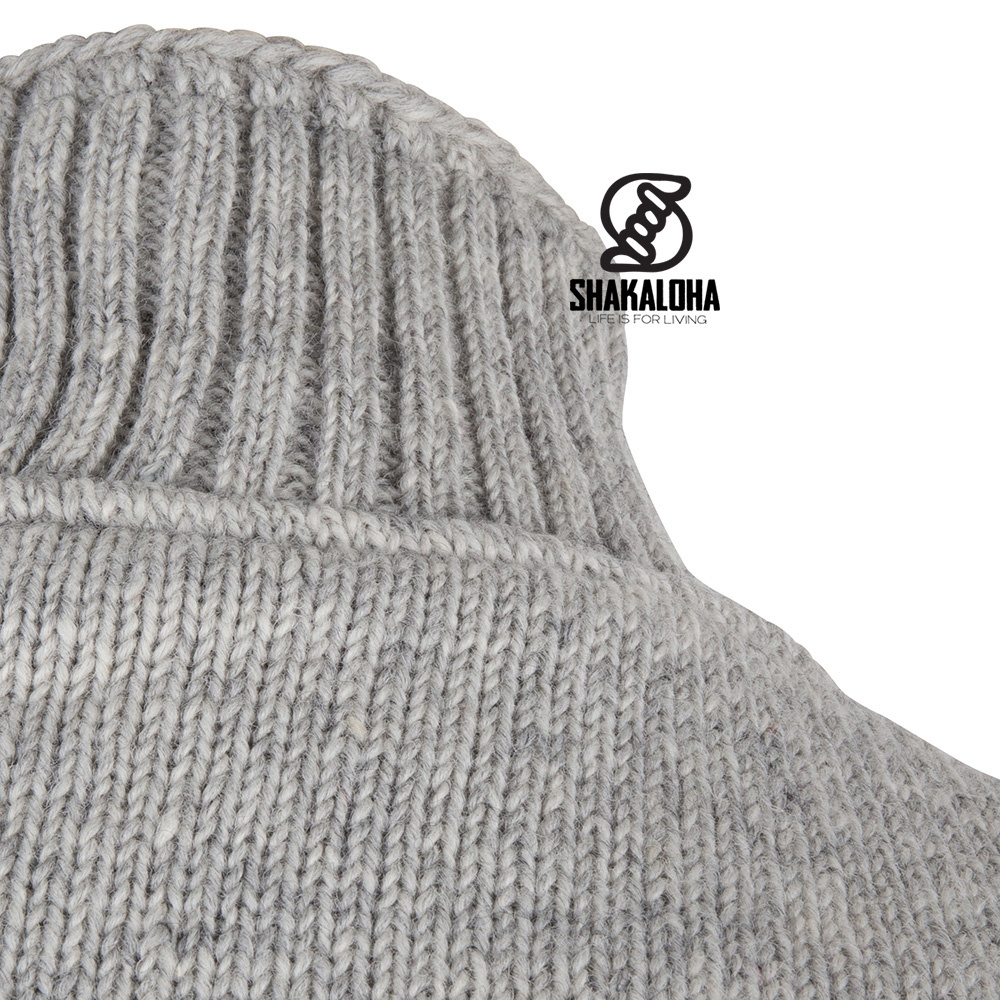 Shakaloha Shakaloha Veste en Laine Tricoté Flyer Collar gris avec Doublure en coton et Col haut - Hommes - Uni - Fabriqué à la main au Népal en laine de mouton