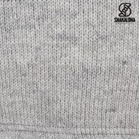 Shakaloha Shakaloha Gebreid Wollen Vest Flyer Collar Grijs met Katoenen Voering en Hoge Kraag - Man/Uni - Handgemaakt in Nepal van Schapenwol
