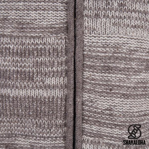 Shakaloha Shakaloha Gebreid Wollen Vest Buster ZH Beige Licht Bruin met Fleece Voering en Afneembare Capuchon - Man/Uni - Handgemaakt in Nepal van Schapenwol
