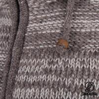 Shakaloha Shakaloha Veste en Laine Tricoté Buster ZH Beige Marron clair avec Doublure en polaire et Capuche détachable - Hommes - Uni - Fabriqué à la main au Népal en laine de mouton