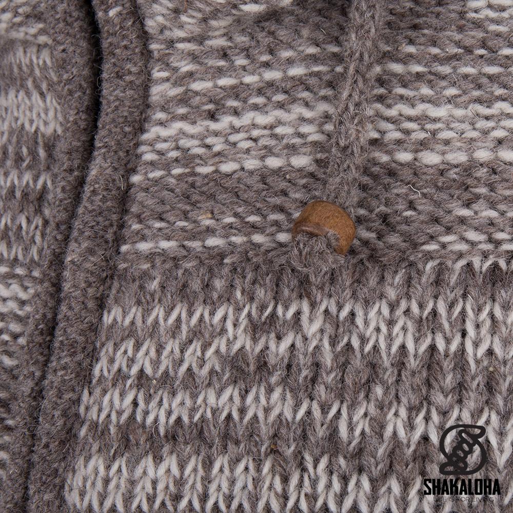 Shakaloha Shakaloha Wolljacke - Strickjacke Buster ZH Beige Hellbraun mit Fleece-Futter und Abnehmbarer Kapuze - Herren - Uni - Handgemacht in Nepal aus Schafwolle
