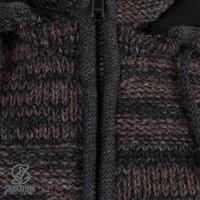 Shakaloha Shakaloha Knitted Woolen Jacket Buster ZH Anthracite Dark Brown with Fleece Lining and Detachable Hood - Men - Unisex - Handmade in Nepal from sheep's wool