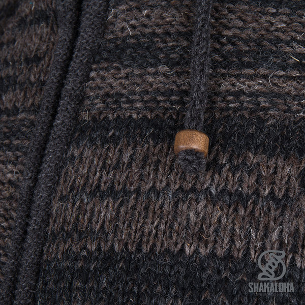 Shakaloha Shakaloha Veste en Laine Tricoté Buster ZH Brun foncé anthracite avec Doublure en polaire et Capuche détachable - Hommes - Uni - Fabriqué à la main au Népal en laine de mouton