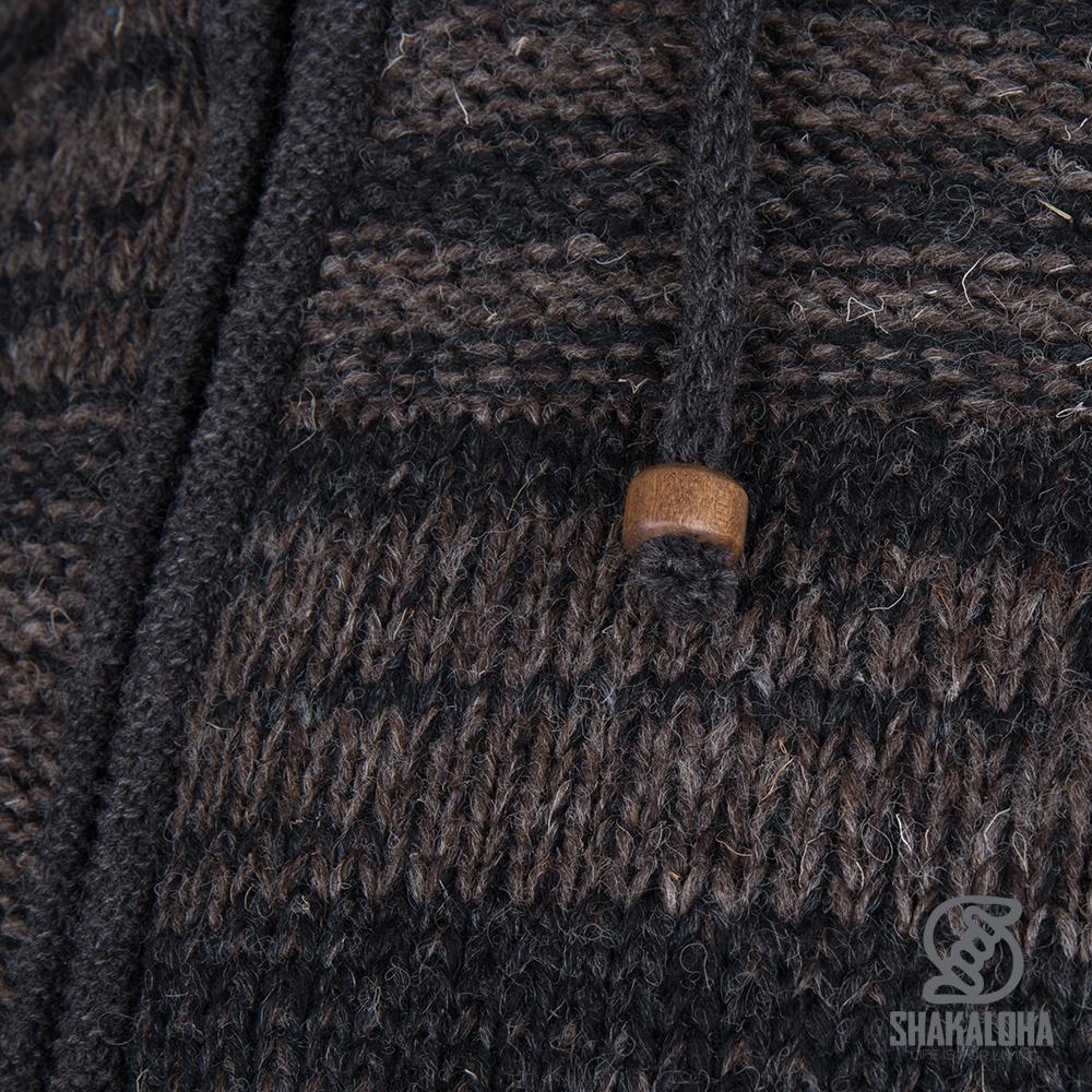 Shakaloha Shakaloha Wolljacke - Strickjacke Buster ZH Anthrazit Dunkelbraun mit Fleece-Futter und Abnehmbarer Kapuze - Herren - Uni - Handgemacht in Nepal aus Schafwolle