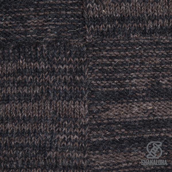 Shakaloha Shakaloha Gebreid Wollen Vest Buster ZH Antraciet Donker Bruin met Fleece Voering en Afneembare Capuchon - Man/Uni - Handgemaakt in Nepal van Schapenwol