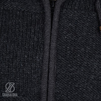 Shakaloha Shakaloha Gebreid Wollen Vest Blaster ZH Antraciet met Fleece Voering en Afneembare Capuchon - Man/Uni - Handgemaakt in Nepal van Schapenwol