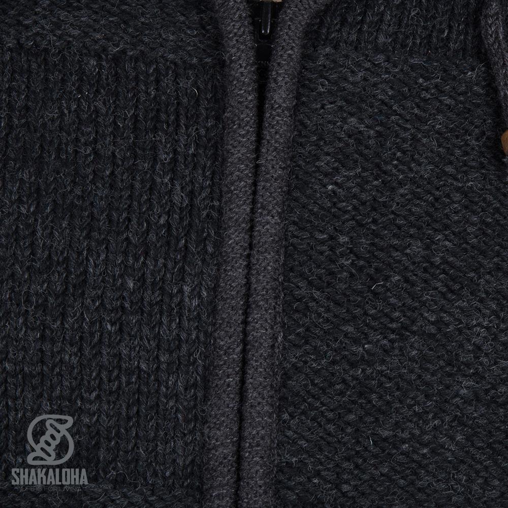 Shakaloha Shakaloha Veste en Laine Tricoté Blaster ZH Anthracite avec Doublure en polaire et Capuche détachable - Hommes - Uni - Fabriqué à la main au Népal en laine de mouton