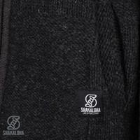 Shakaloha Shakaloha Wolljacke - Strickjacke Blaster ZH Anthrazit mit Fleece-Futter und Abnehmbarer Kapuze - Herren - Uni - Handgemacht in Nepal aus Schafwolle