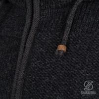 Shakaloha Shakaloha Knitted Woolen Jacket Blaster ZH Anthracite with Fleece Lining and Detachable Hood - Men - Unisex - Handmade in Nepal from sheep's wool