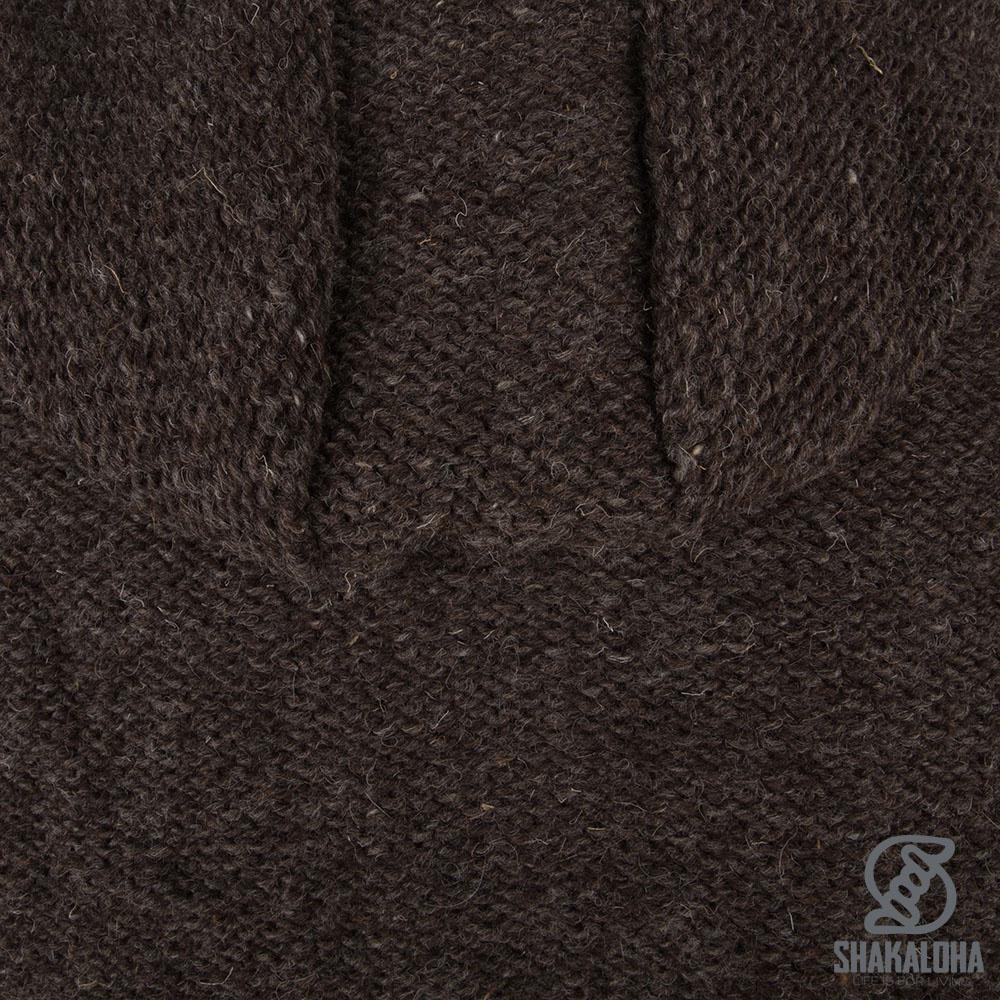 Shakaloha Shakaloha Wolljacke - Strickjacke Maverick ZH Hellbraune Taupe mit Fleece-Futter und Abnehmbarer Kapuze - Herren - Uni - Handgemacht in Nepal aus Schafwolle