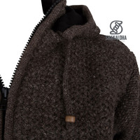Shakaloha Shakaloha Knitted Woolen Jacket Maverick ZH Light Brown Taupe with Fleece Lining and Detachable Hood - Men - Unisex - Handmade in Nepal from sheep's wool
