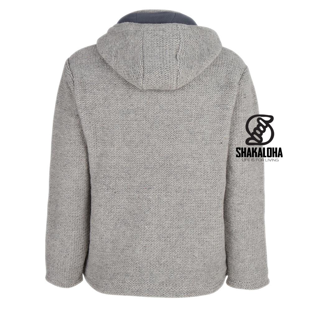 Shakaloha Shakaloha Gebreid Wollen Vest Maverick ZH Grijs met Fleece Voering en Afneembare Capuchon - Man/Uni - Handgemaakt in Nepal van Schapenwol