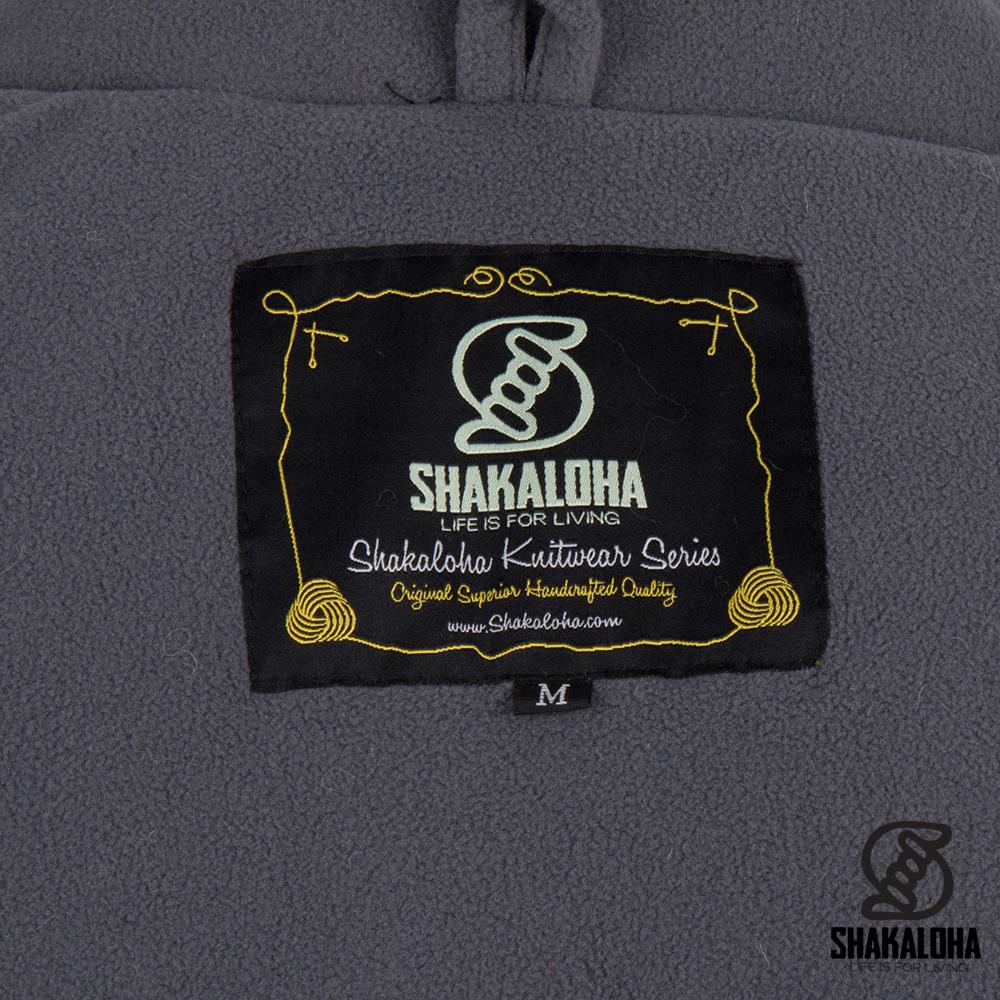 Shakaloha Shakaloha Wolljacke - Strickjacke Maverick ZH Grau mit Fleece-Futter und Abnehmbarer Kapuze - Herren - Uni - Handgemacht in Nepal aus Schafwolle