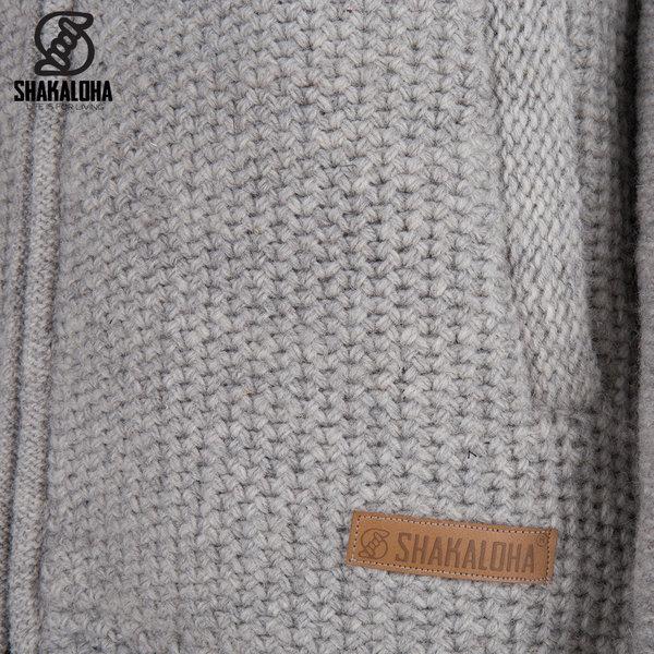Shakaloha Shakaloha Knitted Woolen Jacket Maverick ZH Gray with Fleece Lining and Detachable Hood - Men - Unisex - Handmade in Nepal from sheep's wool